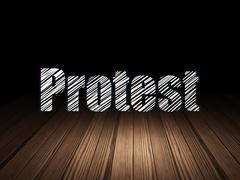 Stock Illustration of Political concept: Protest in grunge dark room