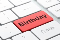 Stock Illustration of Holiday concept: Birthday on computer keyboard background