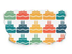 Stock Illustration of Entertainment, concept: Cake icons on Torn Paper background