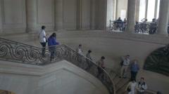 Paris Louvre museum stairs Stock Footage