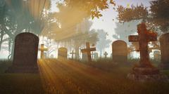 Old abandoned cemetery at sunset - stock illustration