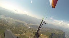Pov Paragliding in the sky Annapurna Pokhara, Nepal, Himalayas, gopro Stock Footage