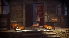 Little girl on the porch of the spooky house Stock Illustration