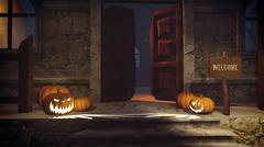 Halloween pumpkins on the doorstep - stock illustration
