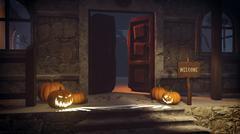 Halloween pumpkins on the gloomy porch Stock Illustration