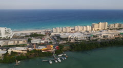 Aerial view of hotels and beach in Cancun, Mexico - stock footage