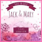Wedding watercolor vector invitation Stock Illustration