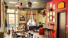 Cafe Interior Retro Design - stock photo