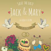 Wedding watercolor vector invitation Stock Illustration
