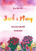 Stock Illustration of Wedding watercolor vector invitation