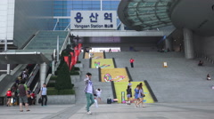 Busy People At The Stairs Of Yongsan Station Stock Footage