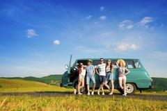 Young hipster friends on road trip Stock Photos