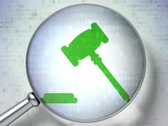Stock Illustration of Law concept: Gavel with optical glass on digital background