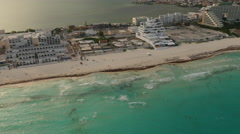 Aerial view of hotels and beach in Cancun, Mexico Stock Footage