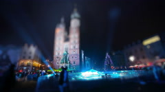 Old Town. New Year's Eve in Krakow, Poland. Tilt shift effect. - stock footage