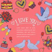 Hand drawn love symbols - stock illustration