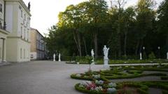 Fountain and garden near Branicki Palace in Bialystok - stock footage