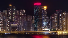 Hong kong city at night timelapse. Stock Footage
