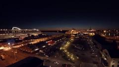 Night drone flight, city port, Skandinavia Finland - stock footage