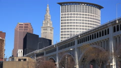 Establishing shot of the skyline of Cleveland Ohio. Stock Footage