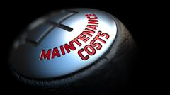 Maintenance Costs on Gear Shift with Red Text - stock illustration