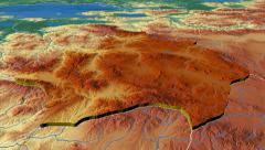 Kutahya - Turkey region extruded. Bumps shaded Stock Footage