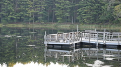 Wooden Fishing Dock on the Lake Stock Footage
