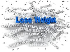 3d image Lose weight word cloud concept - stock illustration