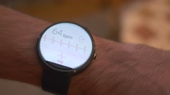 4K Smartwatch Heart Rate Monitor Live Results Stock Footage