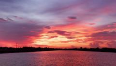 Timelapse sunrise sunset reflection on river Stock Footage