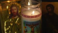Stock Video Footage of 4K Crucifixion of Jesus Candle Burning Christian