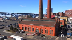 Establishing shot of the industrial skyline of Cleveland Ohio. Stock Footage