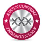 Adult content badge with metallic XXX in center - stock illustration