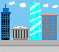 Business district - stock illustration