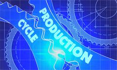 Production Cycle Concept. Blueprint of Gears - stock illustration