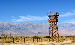 Guard tower at the Manzanar Detention Center from World War II Stock Photos