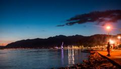 Beautiful evening in Tivat, Montenegro. Stock Footage