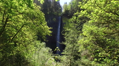 Waterfall in Columbia River Gorge, Oregon Stock Footage