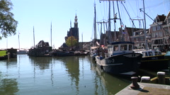 Hoorn harbor with old ships Stock Footage