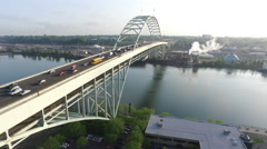 Fremont Bridge, Portland Oregon aerial shot Stock Footage