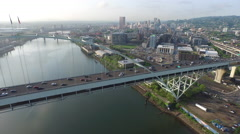 Fremont Bridge, Portland Oregon aerial shot - stock footage
