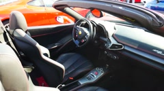 Ferrari 458 Italia Spider interior Stock Footage