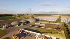 Biogas plant with 3 fermenters - stock footage
