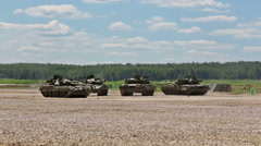 Russian tanks in show of military equipment on military ground Stock Footage