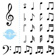 Stock Illustration of Set of classic black music notes