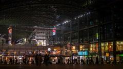 Night modern railway stationat in Berlin Stock Footage