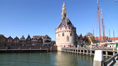 Hoorn Old tower near the harbor Stock Footage