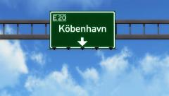 4K Passing Copenhagen Denmark Highway Sign with Matte 6 stylized Stock Footage
