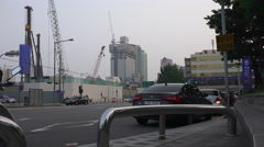 Construction Cranes And City Street Seoul South Korea Stock Footage