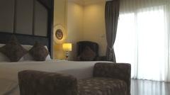 Hotel bedroom interior Stock Footage